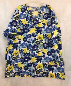 0d03288ebb9 Hawaiian Print Scrub Advantage Blue Short Sleeve Uniform Scrub Top Size XL  in Clothing, Shoes & Accessories, Uniforms & Work Clothing, Scrubs, Tops