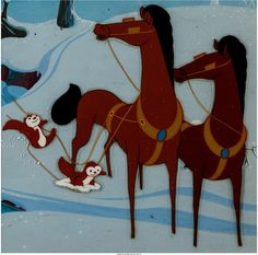 melody time once upon a wintertime segment production cel and painted background setup