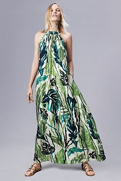 Islamorada Silk Dress #anthropologie -- ADORE the trapeze maxi cut (don't typically like Palm Beachy–type prints like this, but it's okay in this dress. Lily Pulitzer–style prints are a bit too twee for me generally.)