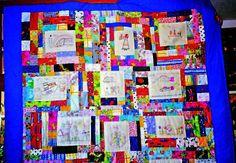 colcha de patchwork realizada con dibujos de mi sobrina
