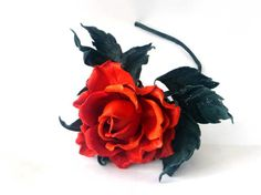 Leather red rose  Leather Flowers Third anniversary gift