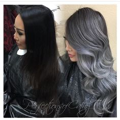 How breathtaking 😍 Beautiful makeover from dark brunette to a smoky silver and charcoal color melt by @prostylistcathyt 😍 #hotonbeauty