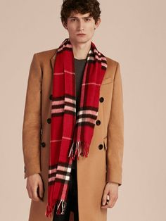 The Classic Cashmere Scarf in check from Burberry is made at a 200-year-old mill in the Scottish countryside.