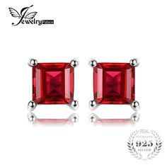 JewelryPalace Princess Cut Pure Natural Red Garnet 925 Solid Sterling Silver Dazzling Earrings Stud For Women Fine Jewelry Garnet Earrings, Sterling Silver Earrings Studs, Stud Earrings, Crystal Earrings, Mens Gear, Natural Red, Red Garnet, Metal Stamping, Princess Cut