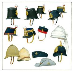 ENGLISH  19th Century. Second Half. Top row: Shako 1846 (Albert), Shako 1855 other rank and officer, Shako 1861 (Quilted) other rank and officer. Second row: Shako 1868 other rank and officer, forage cap 1860, Linen covered cork or straw helmet 1857 (India). Bottom row: Foreign service helmet 1875 and 1890, Glengarry 1857, Field service cap (Austrian) 1895, Slouch hat 1900, Home service helmet 1879.