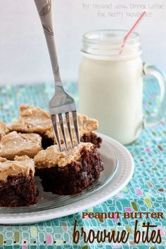 Peanut Butter Brownie Bites - These brownies are fudgy with bits of chocolate chips, & just when you think it could not get any better, it is topped with a layer of creamy peanut butter frosting. | DessertNowDinnerLater.com #brownies #peanutbutter