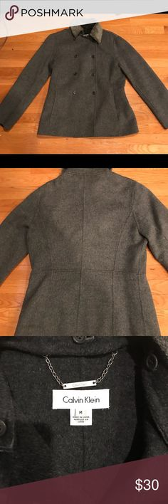 Calvin Klein Gray Pea Coat with Faux Fur collar 80% wool 30% Nylon Calvin Klein Gray Pea Coat with faux fur Collar. Sweet to dress up or run around in jeans. Calvin Klein Jackets & Coats Pea Coats