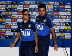 Lorenzo Insigne (L) and Eder of Italy prior to the press conference at Casa Azzurri on June 10, 2016 in Montpellier, France.