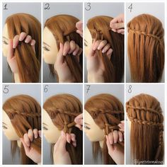 """Dutch three strand ladder braids, check out the step as below: 1.Split hair into 3 section 2.Cross left section to the middle section & cross the right…"""
