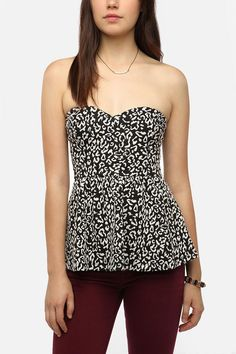 $44 Pins and Needles Strapless Elastic-Back Peplum Top  #UrbanOutfitters