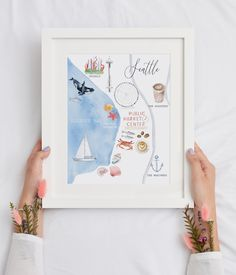 This art print features some of the most popular spots in downtown Seattle and illustrations of nautical elements in the Pacific Northwest. Seattle Map, Downtown Seattle, Watercolor Design, Watercolor Print, Watercolor Christmas Tree, Washington Art, Printable Christmas Cards, Housewarming Gifts, Personalized Wedding Gifts