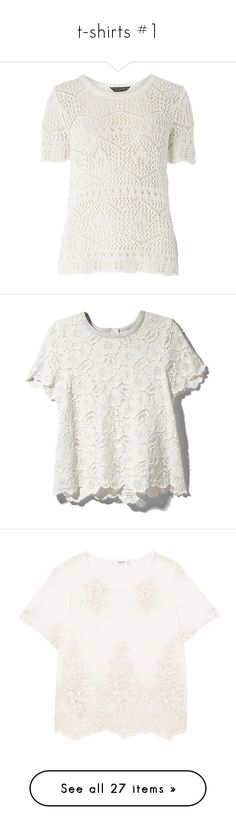 """""""t-shirts #1"""" by coldasme on Polyvore featuring tops, t-shirts, white, macrame top, summer t shirts, white t shirt, white crochet top, ivory top, shirts i blouses"""