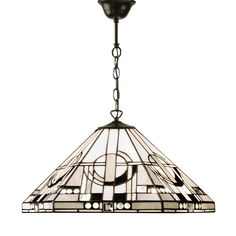 Astoria 63937 Tiffany 1 Light Medium Pendant Fitting Style Glass Satin Black Paint With Iridised Inserts The Collection U