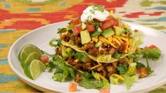 Mexican Tostada Salad - Recipes - Best Recipes Ever - Layered with taco-style ingredients, this colourful salad is bursting with fresh market vegetables. Lunch Recipes, Beef Recipes, Mexican Food Recipes, Great Recipes, Salad Recipes, Vegetarian Recipes, Cooking Recipes, Favorite Recipes, Healthy Recipes