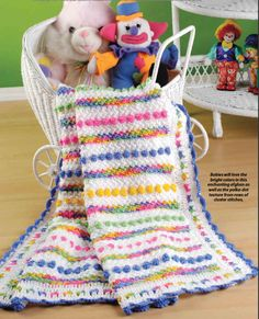 """""""Cotton Candy"""" Baby Afghan. Pattern included in Crochet World Spring 2012 issue: Scrap Crochet! 50 Nifty Projects to Crochet."""