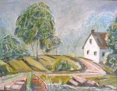 summer afternoon Cape cottage US signed original listed Kevin F. Doyle Nantucket #Impressionism