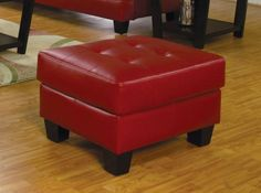 Samuel Ottoman in Red – Simply Austin Furniture