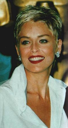 Sharon Stone Short Pixie Hairstyle - Short Hairstyles and Short Haircuts for Short Grey Hair, Short Hair With Layers, Short Hair Cuts For Women, Short Hairstyles For Women, Short Hair Styles, Short Cuts, Sharon Stone Short Hair, Sharon Stone Hairstyles, Short Pixie Haircuts