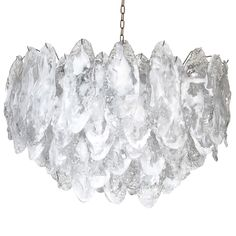 Murano Ice Glass Chandelier by Mazzega | From a unique collection of antique and modern chandeliers and pendants  at https://www.1stdibs.com/furniture/lighting/chandeliers-pendant-lights/