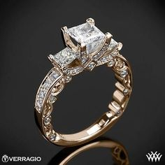 20k Rose Gold Verragio Bead-Set Princess 3 Stone Engagement Ring~How To Select The Perfect Diamond Engagement Ring - Style Estate -