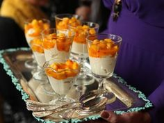White chocolate cream with sea buckthorn and mango salad