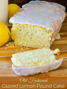 Glazed Lemon Pound Cake - an old fashioned favourite, just like grandma used to bake, complete with a thick layer of sweet, tangy lemon glaze. Homemade Cake Recipes, Pound Cake Recipes, Lemon Recipes, Pound Cakes, Just Desserts, Dessert Recipes, Dinner Recipes, Rock Recipes, Canadian Food