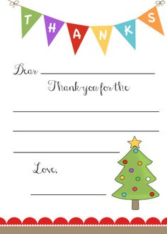 kid's christmas thank-you note FREE printable.