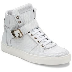 Roberto Cavalli High-Top Sneakers ($230) ❤ liked on Polyvore featuring men's fashion, men's shoes, men's sneakers, white, mens velcro sneakers, mens lace up dress shoes, mens white high tops, mens lace up shoes and mens high top shoes