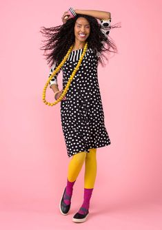 "Dress just like Gudrun in our ""Gudrun"" dress! Jersey dress in soft micromodal, delightfully patterned with spots and stripes. Style with a square neckline, three-quarter sleeves and two side pockets. Note the beautiful picot seams in contrasting colors."
