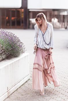 Striped top+light pink maxi skirt+nude printed lace up heeled sandals+nude shoulder bag. Summer outfit 2016