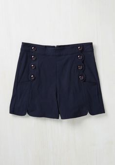 Ripples My Fancy Shorts in Navy. Each time you march these retro, navy shorts to the shore, you know you can at least count on the water to greet you with a friendly wave! #blue #modcloth