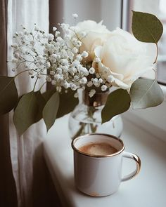 Coffee and flowers But First Coffee, I Love Coffee, Coffee Break, My Coffee, Morning Coffee, Sunday Coffee, Coffee Cafe, Coffee Drinks, Coffee Shop
