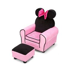 Delta Children Disney Minnie Mouse Chair with Ears and Ottoman 1