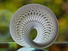 The artist's profile says: All segments are thin Möbius strips, and they weave and interlock perfectly through the spaces left between them. Highly complex, and a headache to look at, yet it possesses an inherent mathematical simplicity and beauty.