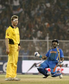 Chasing 261, India were precariously placed at 187 for 5 in the quarter-final against Australia when Yuvraj Singh and Suresh Raina began an unbroken match-winning association. Australia were beaten by five wickets and there would be a new World Champion for the first time since 1999.  #WorldCup2011 #Cricket