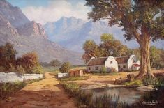 Artwork by Old Masters exhibited at Robertson Art Gallery. Original art of more than 60 top South African Artists - Since Landscape Artwork, Landscape Pictures, Villas, South Africa Art, African Paintings, Oil Paintings, South African Artists, Winter Painting, Environment Design