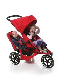 Phil & Teds Classic Inline Folding Baby Stroller with Double Kit Seat - Red #PhilTeds