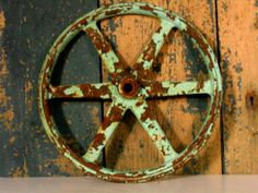 Vintage Cast Iron Belt Wheel Gear Rusty and by steampunklighting