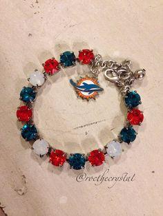 Miami Dolphins Swarovski Bracelet on Etsy, $35.00
