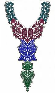9749 Neck Embrodery Design Embroidery Neck Designs, Diy Clothes, Crochet Necklace, Caftans, Ornaments, Machine Embroidery, Prints, Neckline, Couture