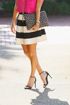 Black and white striped skirt on Peaches In A Pod Blog