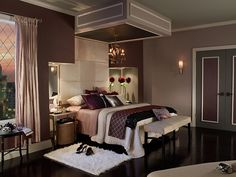 Purple tones in the bedroom can be serene and relaxing. - dark purple tibetan temple behr light purple Vintage mauve