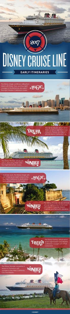 In early 2017, Disney Cruise Line returns to favorite destinations in the Caribbean and Bahamas on a variety of itineraries, most from popular Florida ports. Limited-time engagements in San Juan, P…