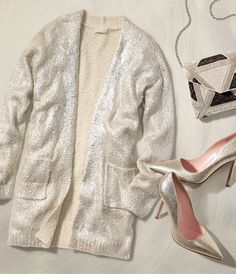 pretty shimmery cardigan and pumps http://rstyle.me/~3ttX1