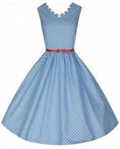 LindyBop retro šaty Daria, modré s puntíky