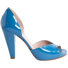 Pre-owned Chloé Patent Leather Sandals ($175) ❤ liked on Polyvore featuring shoes, sandals, blue, chloe shoes, blue patent shoes, patent leather shoes, blue patent leather sandals and patent sandals