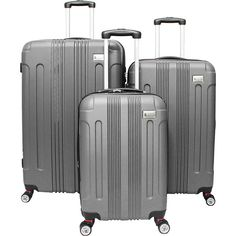 American Green Travel Plateau Ll Hardside 3-Piece Spinner Luggage Set ($188) ❤ liked on Polyvore featuring bags, luggage and metalic
