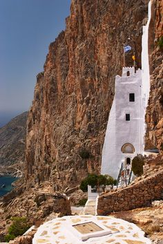 monastery on/in the rock.  Amorgos, Cyclades, Greece