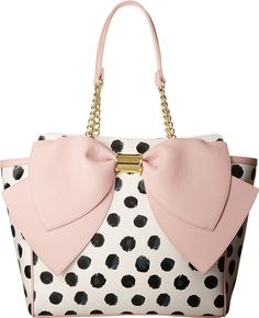 Betsey Johnson Signature Bow Tote Shoulder Bag, Polka Dot