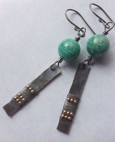 Amazonite round beads with gold-filled accent beads and silver - dangle wire wrapped earrings